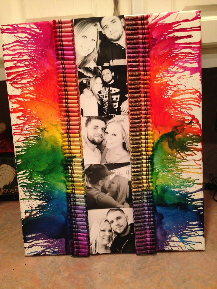 Crayon art! Glue crayons on a canvas and tape off any areas you don't want wax on. Then use a blow dryer to melt the crayons .