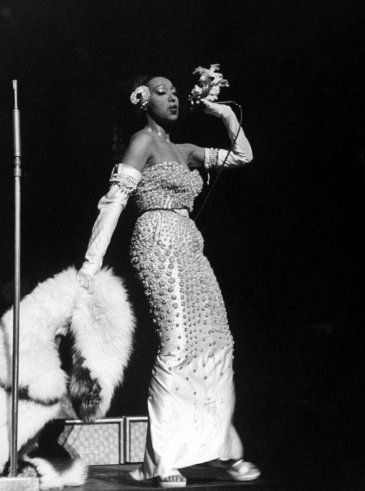 "Josephine Baker: the perfect embodiment of the 1920s ""Jazz Age."" (See a slide Show from LIFE): Josefin Bakers, Vintage Dior, Christian Dior, Josephine Bakers, Hands Held Corsage, 1951, New York, Dior Dress, Broadway"