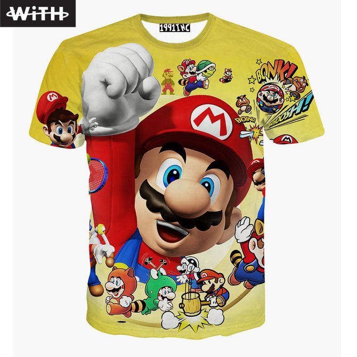 New 2017 Summer Fashion Men Women 3d T Shirt Mario Captain America Joker Lion Doge Cat Lively Print Anime T-shirt WITH YZ638