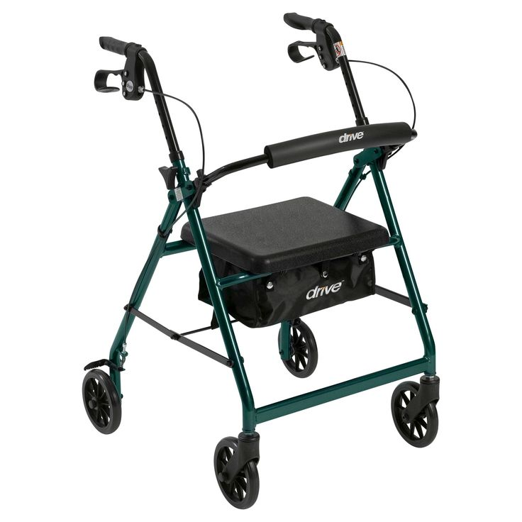 Drive Medical Walker Rollator with 6 Wheels, Fold Up Removable Back Support and Padded Seat, Green