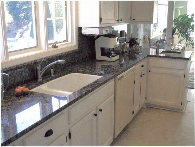 62 best images about countertop styles on pinterest for White kitchen cabinets with blue pearl granite