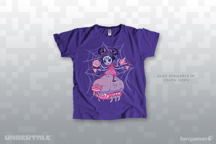 Don't look so blue, my deary~ ...I think purple is a better look on you!This officialUNDERTALE t-shirt was illustratedby Muffet's designer, Michelle Czajkowski, and printed on soft 50/50 shirts from American Apparel and District. Each one comes with a bonus sticker!GarmentUnisex XS-2XAmerican Apparel BB401Women's XS-4XDistrict Made DM108LUnisex 3X-6XPort & Company 55This shirt features our new favorite women's garments, from District Made—they use women's sizes, not junior's, so if…