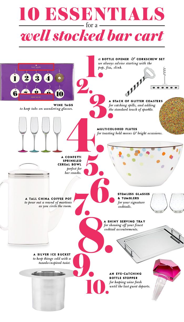 #celebratecolorfully ten essentials for a well stocked bar cart