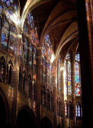 "The Gothic design is a skeleton of stone with glass walls.  St. Denis is widely considered the first ""Gothic"" cathedral, but they only got bigger and better from here."