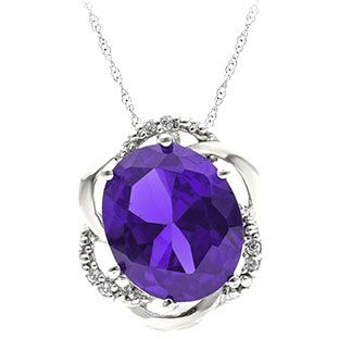 Bold Oval Cut Amethyst Gemstone Diamond White Gold Pendant Available Exclusively at Gemologica.com