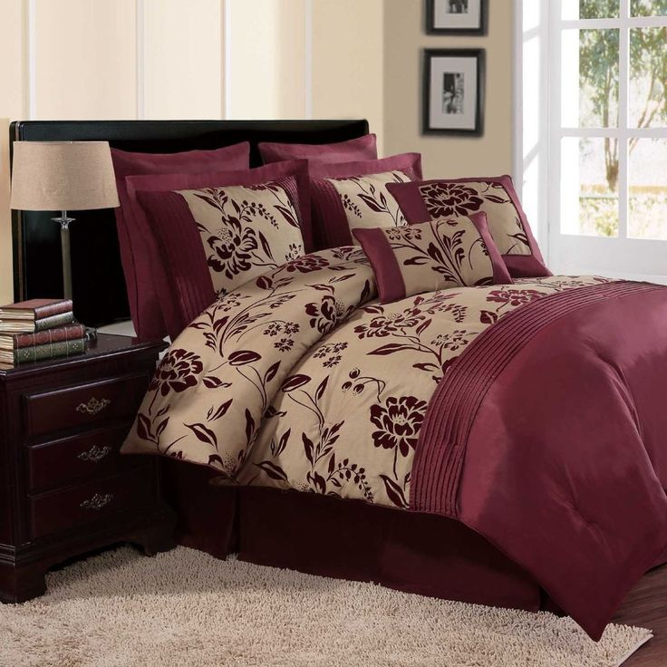 NEW Bed Bag King Queen 8 Pc Burgundy Red Gold Floral