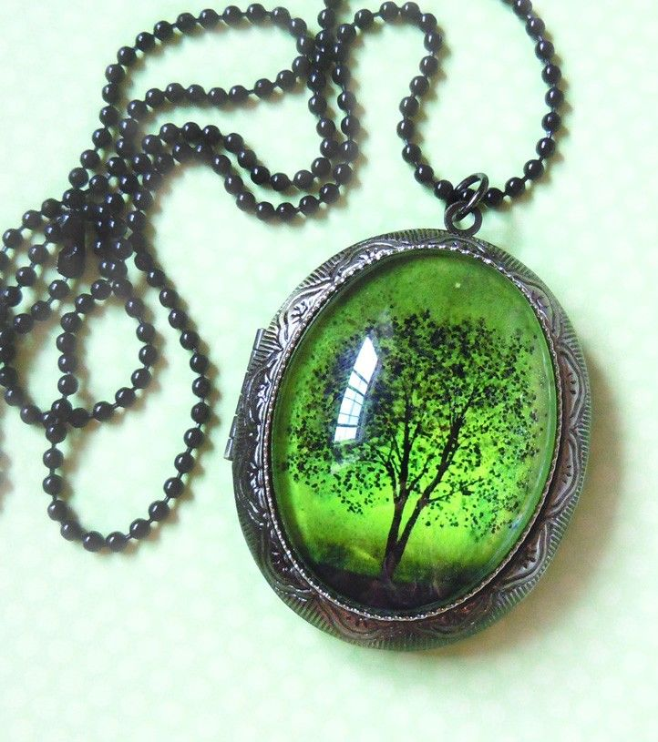 Emerald Bewitched Wearable Art Silver Locket Necklace Tree