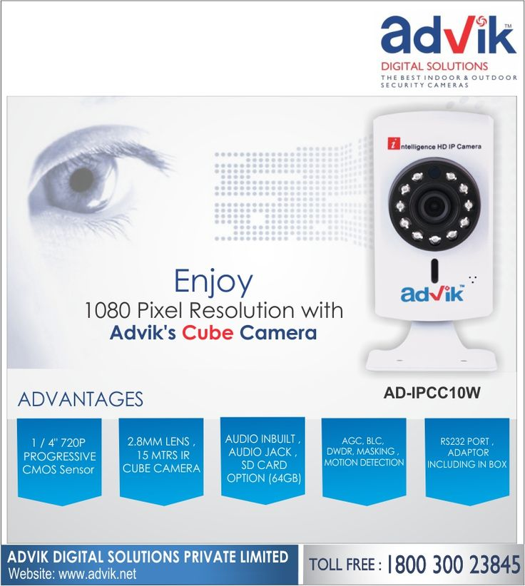 Enjoy 1080 pixel resolution with Advik's #CubeCamera!!! Advik's cube #camera has 1080 pixel resolution with 1/2.8' Sony CMOS sensor, 2.8mm lens for clear #images and videos. A viewing angle of more than 90 degrees ensures a wide field of view. It is loaded with unbeatable #features like #audio jack for #speakers, connectivity via WIFI and LAN, RS232 protocol for faster and more reliable communication. It also allows viewing through #mobile App, which makes it best suited for any location be…