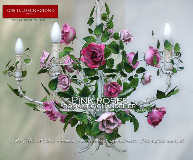 wrought roses | Pink roses, wrought iron chandelier by GBS, Romantic collection. White ...