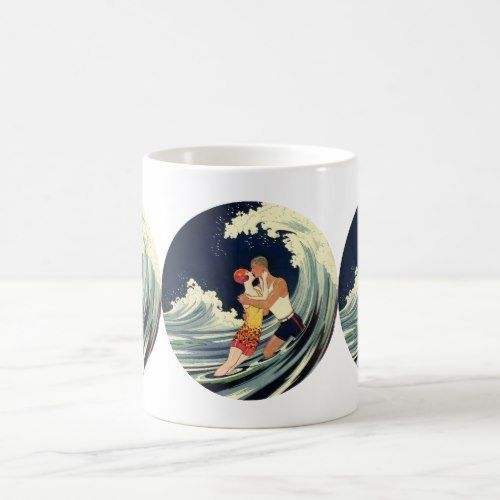 Vintage Art Deco Lovers Kiss in the Waves at Beach Coffee Mug