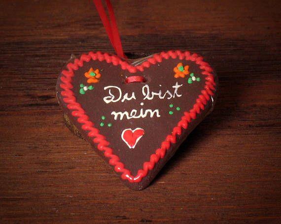 "Miniature Gingerbread Heart ""Du bist mein Herz"" by DinkyWorld on Etsy"