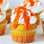 Candy Corn Inspired Cupcakes with pure Candy Corn Glaze!