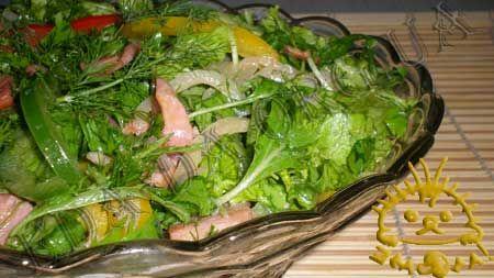 Кулинарный фото рецепт - Салат с рукколой и грудинкой.