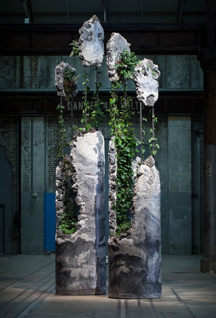 Succession was created for the 20th Biennale of Sydney: The Future is Already Here - It's Just Not Evenly Distributed. It consists of two fragmented columns inhabited by a selection of Australian plant species that continued to grow over the course of the exhibition.