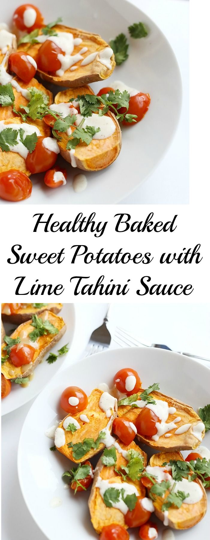 These Healthy Baked Sweet Potatoes with Lime Tahini Sauce are the perfect comforting dinner! Two sauce options included! Vegan and Gluten Free. / TwoRaspberries.com