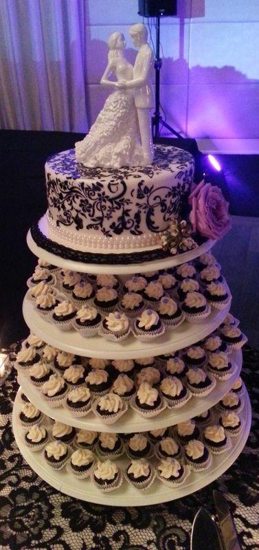 Wedding Cake and Mini Cupcake Tower #wedding #love #minicupcakes #cake #bride #groom #damask #blackandwhite #sweetsisterchicsister