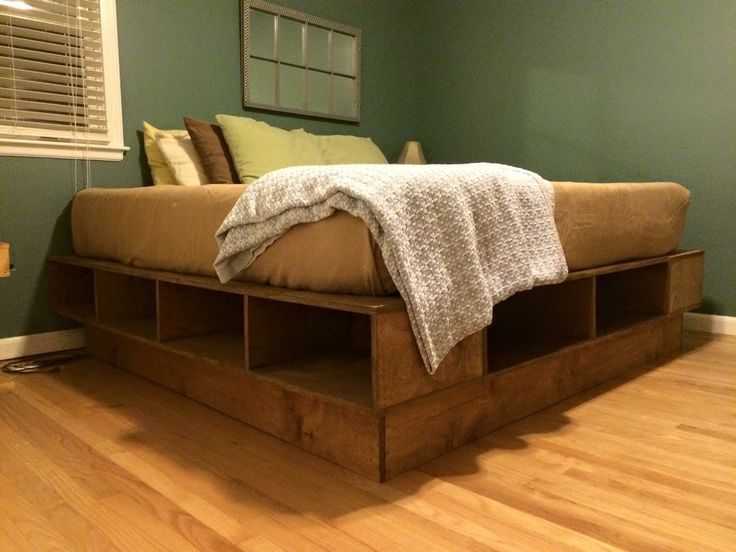 Platform Bed King Size Simple Straight Cuts Used The Plans From Lowe S Added The Riser Underneath For More Elevation Woodworking Platform