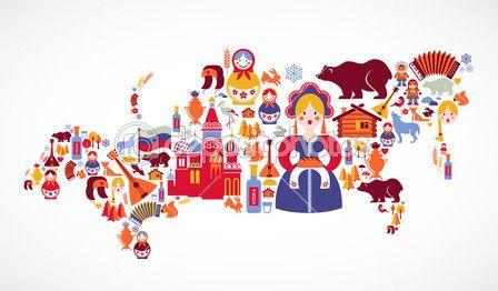 Карта России с векторные иконки — Векторное изображение © marish #22669997