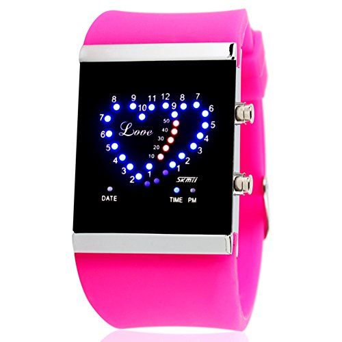 Heartshaped ideasLEDWaterproof watchMan and woman lovers jelly watchE * Click image to review more details.