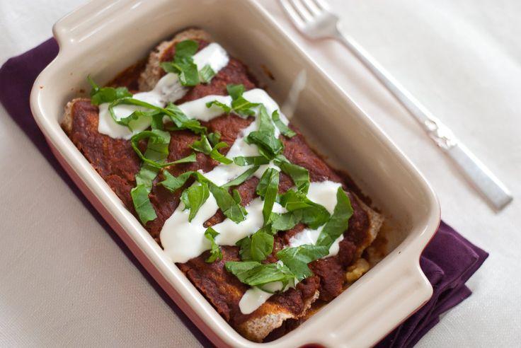 Breakfast Enchiladas with Roasted Poblano Sauce