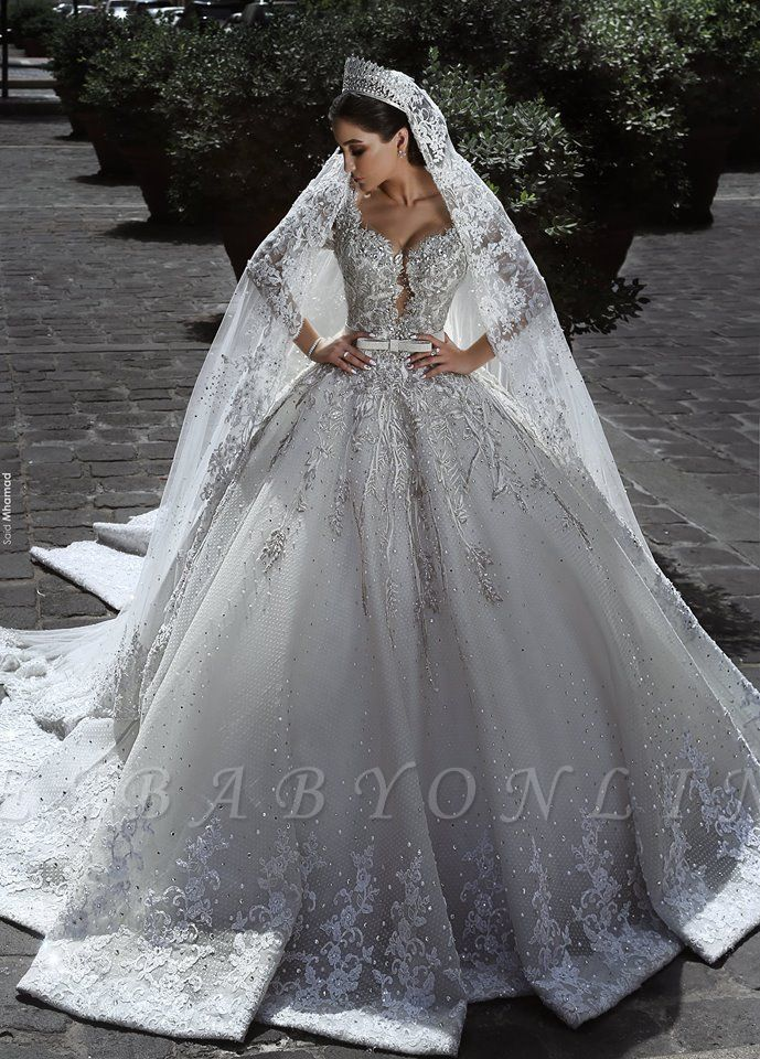 Luxury Sweetheart Long Sleeves Ball Gown Wedding Dresses Couture