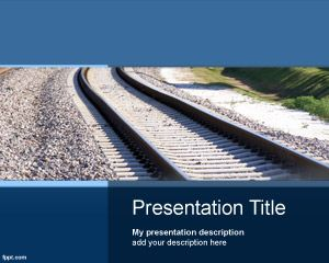 This is a free Transport PowerPoint template with train rail image in the master slide design and a nice blue background color