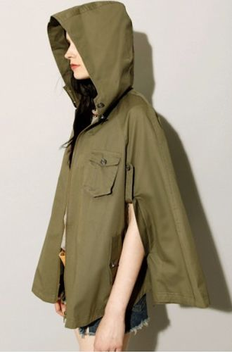 12 Winter Capes: Pixie Market Olive Parka Cape.