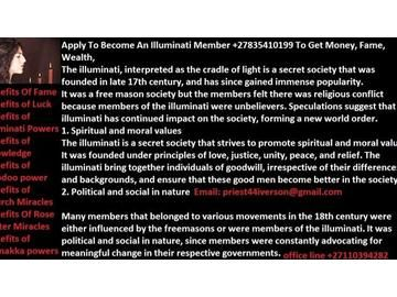 Join Illuminati Satanism Locally Or Globally To Get Fame, Rich, +27835410199 - ad image