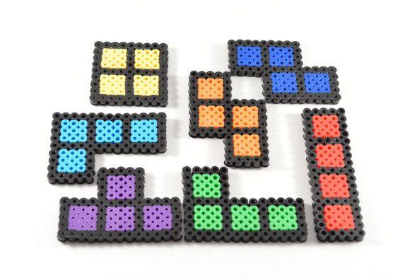 8-bit-Tetris-Magnete / / Tetris Perler Beads / von NostalgiaPerler