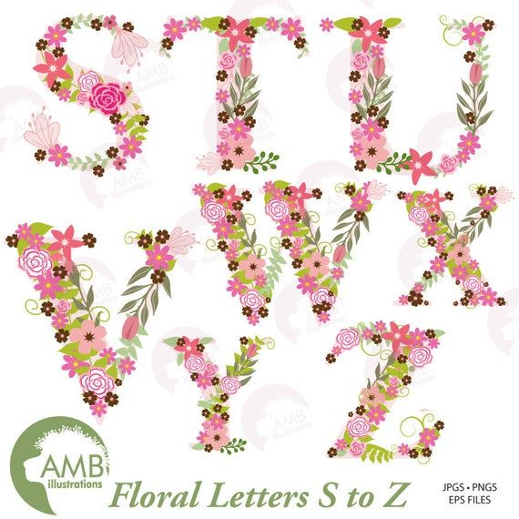 Alphabet Floral Alphabets Letters S To Z Perfect For Invitations