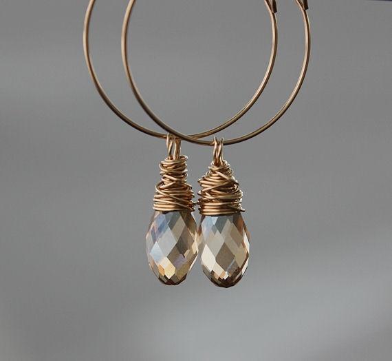 Swarovski briolette and 14K Gold filled earrings.