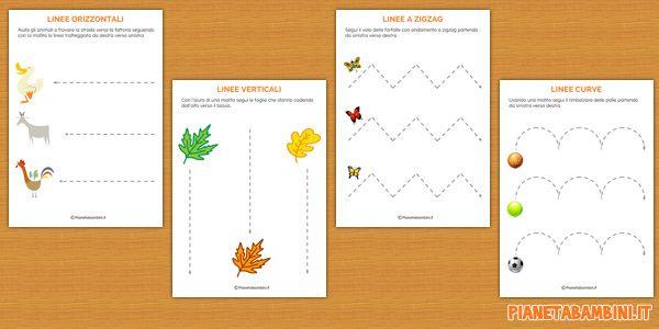 Imparare a tracciare linee con schede da stampare per bambini