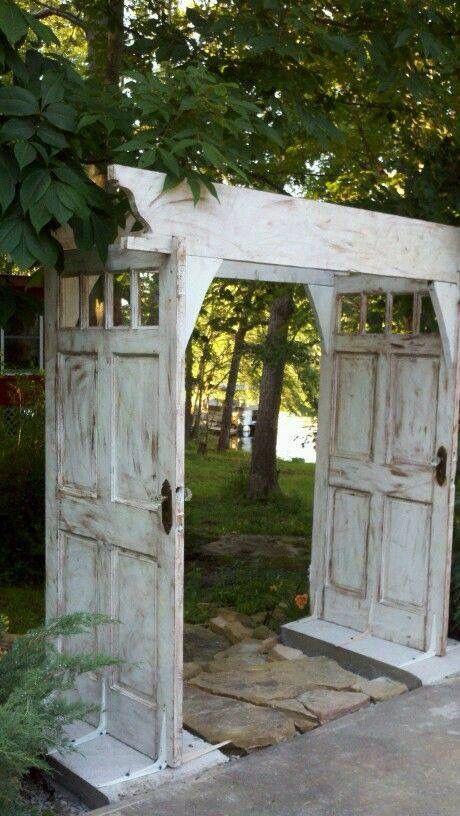 Repurposed doors into a garden trellis