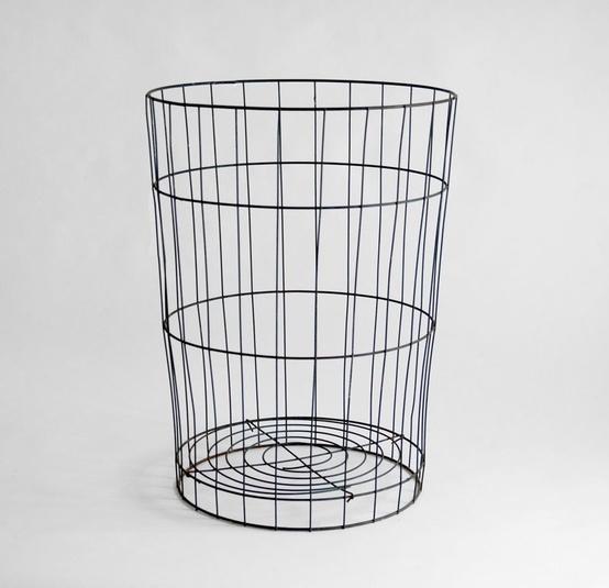 vintage metal storage basket mid century modern rustic box via etsy night. Black Bedroom Furniture Sets. Home Design Ideas