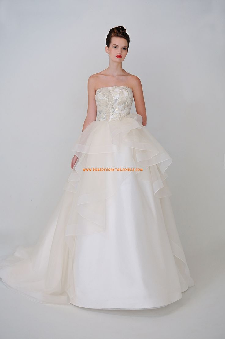 Robe de mariée avec bustier perlé organza 2015