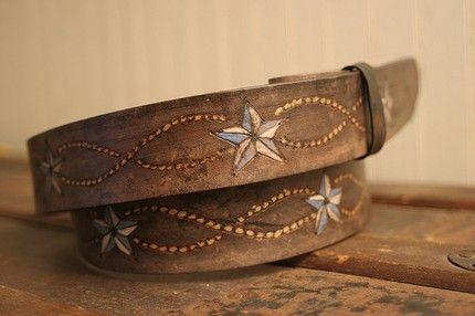 hand-tooled leather belt, vintage look