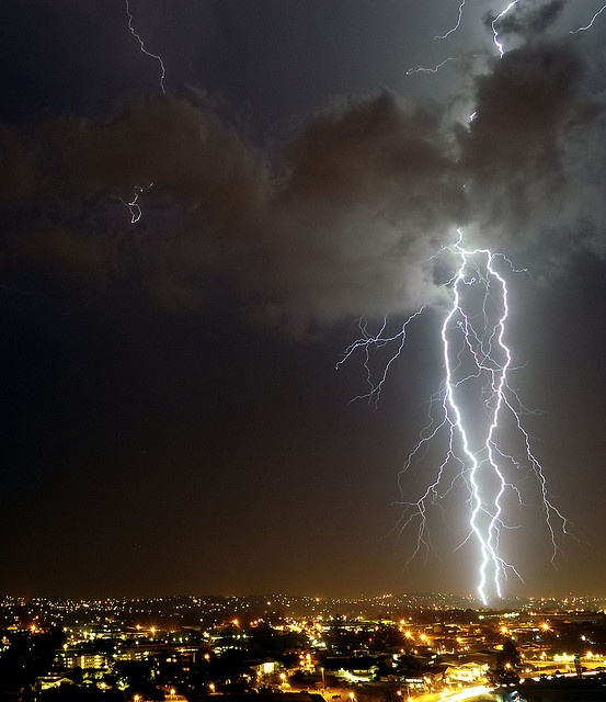Two Pronged Strike by Chris Bloom, over Pinetown/Durban area #lightening