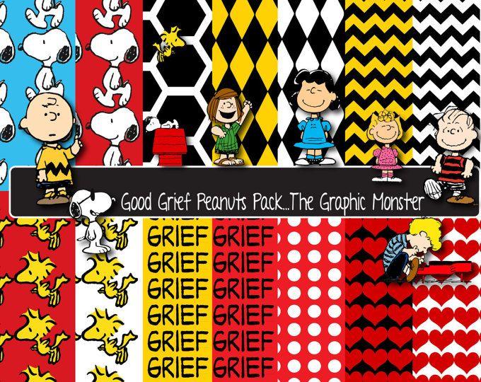 Digital Scrapbook papel Snoopy cacahuetes, Snoopy, cacahuetes, papel de Charlie Brown, Snoopy Scrapbook papel, Scrapbook cacahuete, descarga inmediata