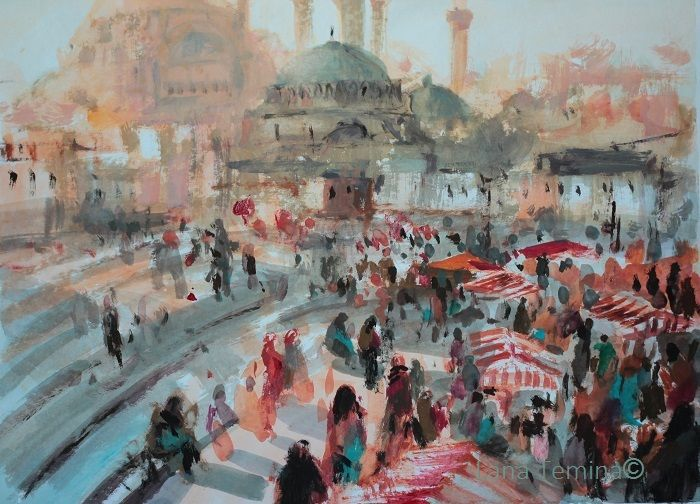 Istanbul .Mixtmedia. Lana Temina. #istanbul #paintings #painting #istanbul #art