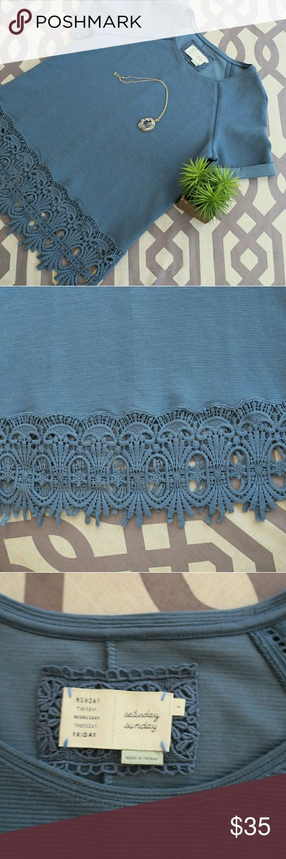 Anthropologie Sat/Sun Blue Crochet Bottom Blouse So pretty!! Looks great with jeans or slacks! NWOT Great Condition! Anthropologie Tops