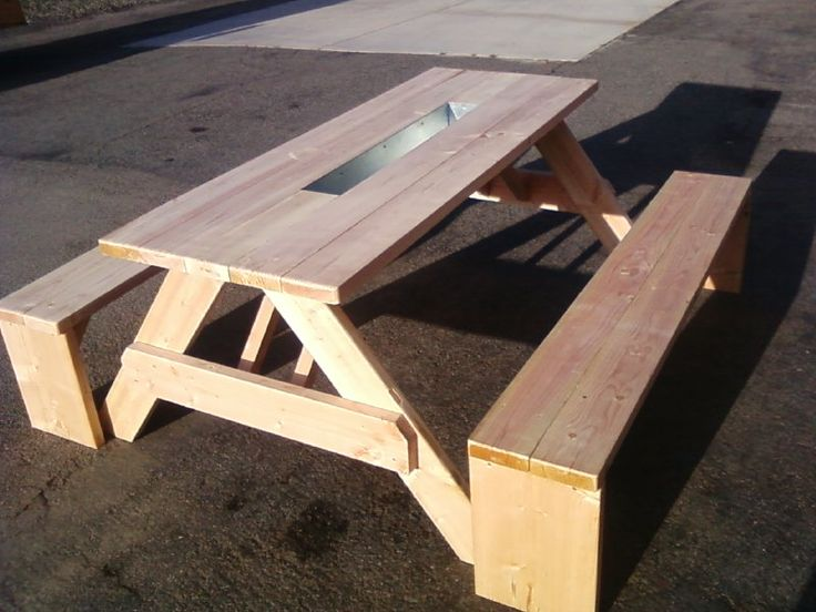 Unfinished 6 Ft Doug Fir Picnic Table With Separate 6 Ft Benches U0026 3 Ft Ice