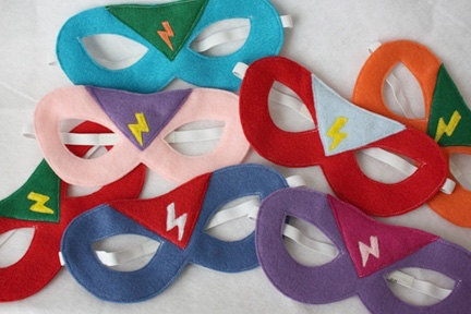 Super Hero Mask (with lightning bolt badge) ANY COLORS- CHILD. $14.00, via Etsy.