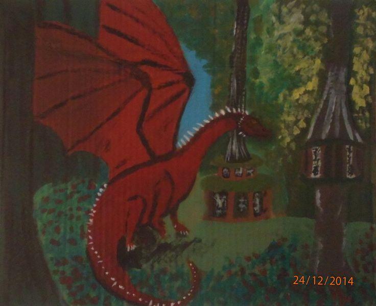 Red dragon with golden eyes of ellesmera by islazandy