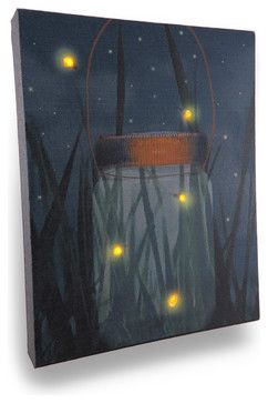 Flickering Jar of Fireflies Lighted LED Canvas Wall Hanging - traditional - Prints And Posters - Zeckos