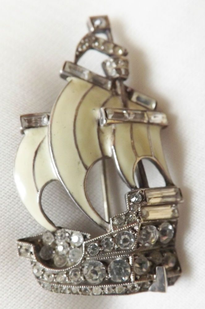 Stunning Vintage ART DECO Sterling Silver Enamel Paste Galleon Ship Brooch Pin…