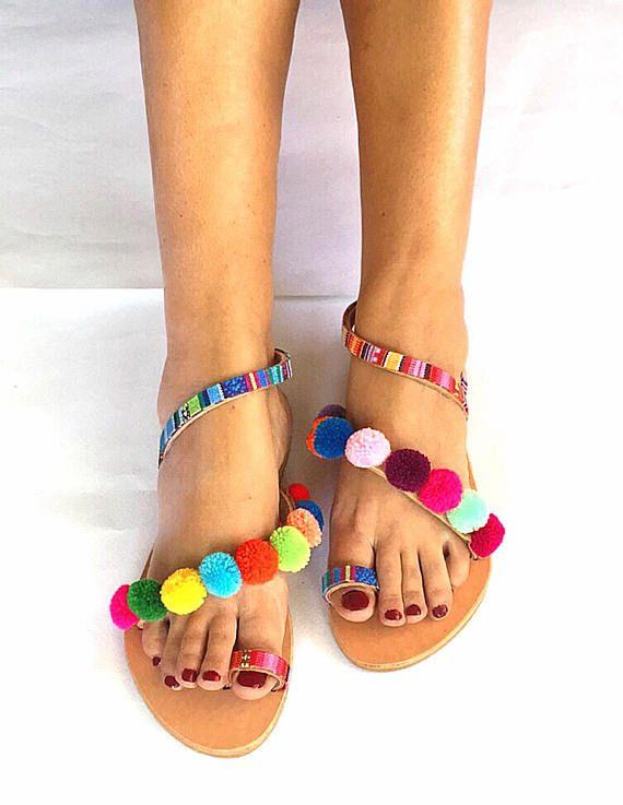 Strappy Pom Pom Sandals Rainbow 2 Bohemian
