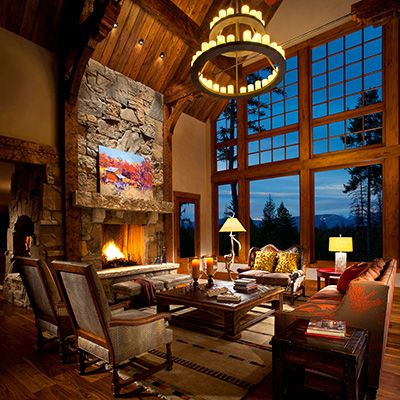 Soaring Greatroom, Whitefish, Montana log home decorated by Hunter & Company: Big Window, Living Rooms, Montana Logs, Fireplaces, Tall Window, Rooms Ideas, Gorgeous Rooms, Whitefish Montana, Logs Home