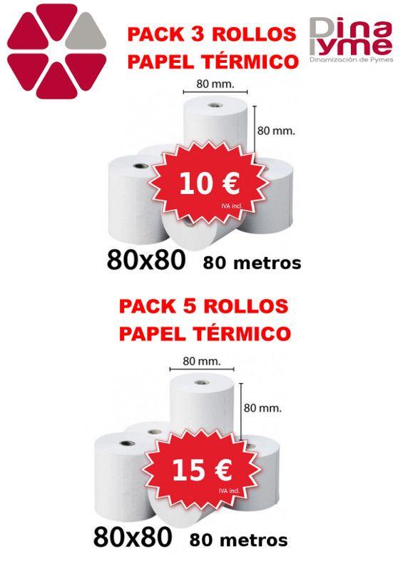 3 rollos de papel térmico 80x80 80 metros: 10 Euros.  5 rollos de papel térmico 80x80 80 metros: 15 euros.
