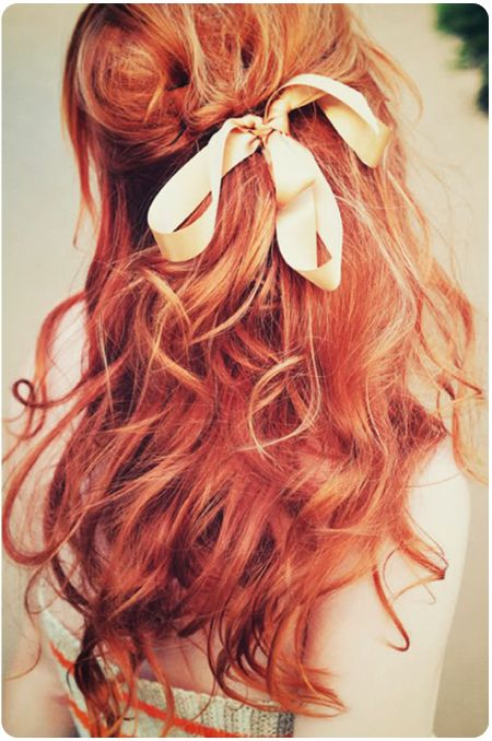 Red curly hair. I love this red. Would not work on me though =p: Hairstyles, Hair Styles, Red Hair, Makeup, Redhead, Bow, Beauty, Hair Color