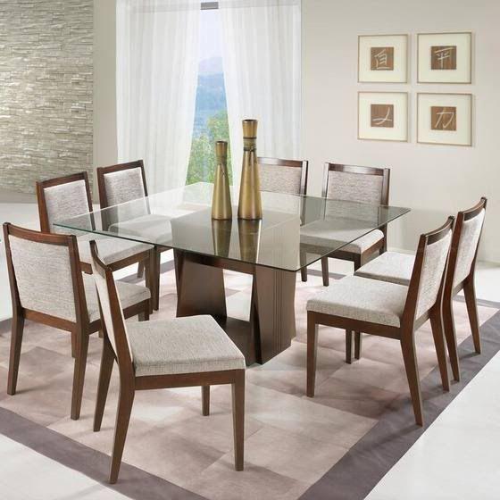 mesa de jantar 8 cadeiras quadrada e de vidro 3